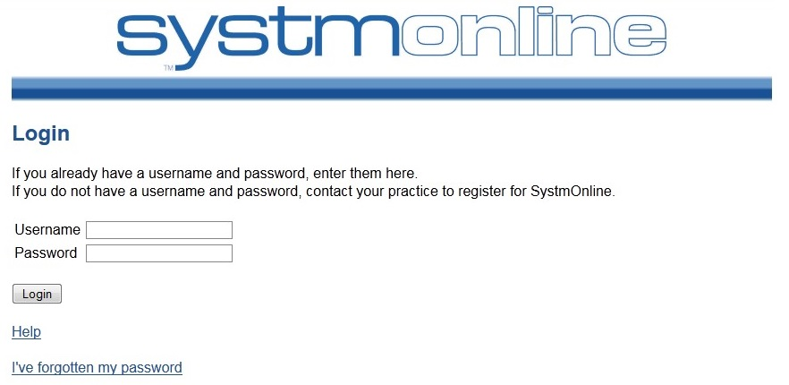 Screenshot shows the front page of Systm Online where you can log-in